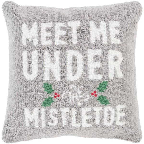 "18"" Ash Gray and Snow White ""MEET ME UNDER THE MISTLETOE"" Throw Pillow –Down Filler"