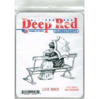 Deep Red Stamps Love Bench Rubber Cling Stamp - 3.2 x 2.8