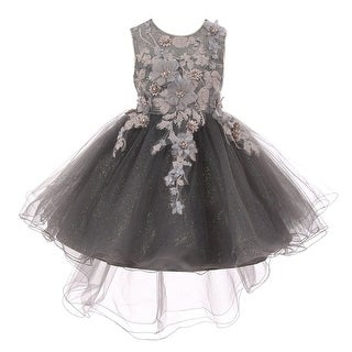 Girls Silver 3D Floral Appliques Hi-Low Tulle Junior Bridesmaid Dress