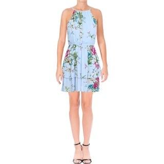 Aqua Womens Sundress Floral Print Tiered