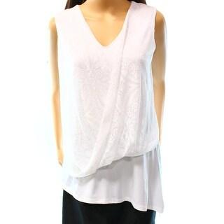 Alfani NEW White Women's Size Small S Asymmetric Printed Blouse