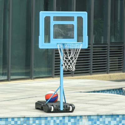 """Soozier 63"""" - 70.75"""" H Adjustable Basketball Hoop and Base with Reinforced Rim & Net & Wheeled Water/Sand Base, Blue"""