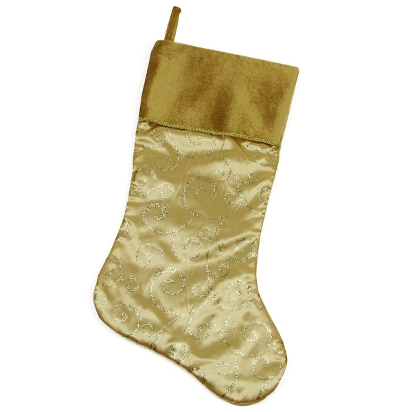 "20"" Gold Glittered Swirl Christmas Stocking with Velveteen Cuff"