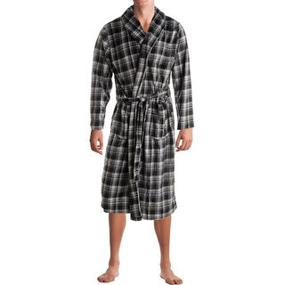 Jockey Mens Long Robe Plaid Fleece - o/s