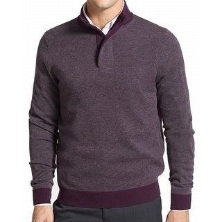 TOSCANO NEW Purple Mens Size XL Texture Quarter Zip Wool Sweater