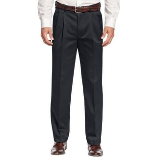 Perry Ellis Cottons Tailored Fit Pleated Chinos Pants Dark Navy 30 x 30