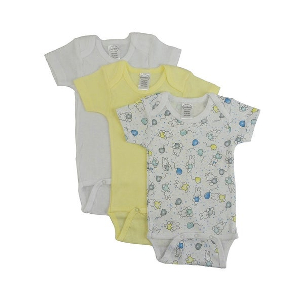 Bambini Baby Girl's Yellow, White Printed Rib Knit Short Sleeve Bodysuit 3-Pack