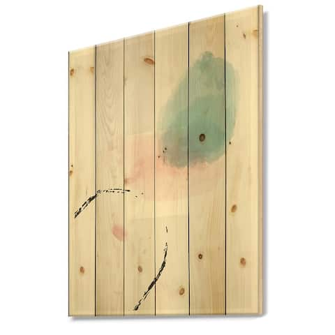 Designart 'Minimal Elementary Organic And Geometric Compostions In Blue And Pink I' Modern Print on Natural Pine Wood