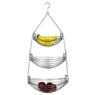 Home Basics 3-Tier Hanging Basket Hammock, Chrome, 31 Inches