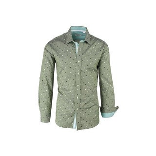 CLEARANCE Green with Navy and White Polka-Dot Pattern, Modern Fit, Long Sleeve Sport Shirt by Tiglio Sport V43100