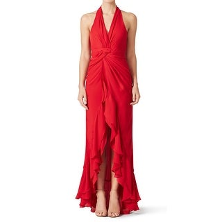 Parker NEW Red Women's Size 8 Ruffle Asymmetrical Hem Century Gown