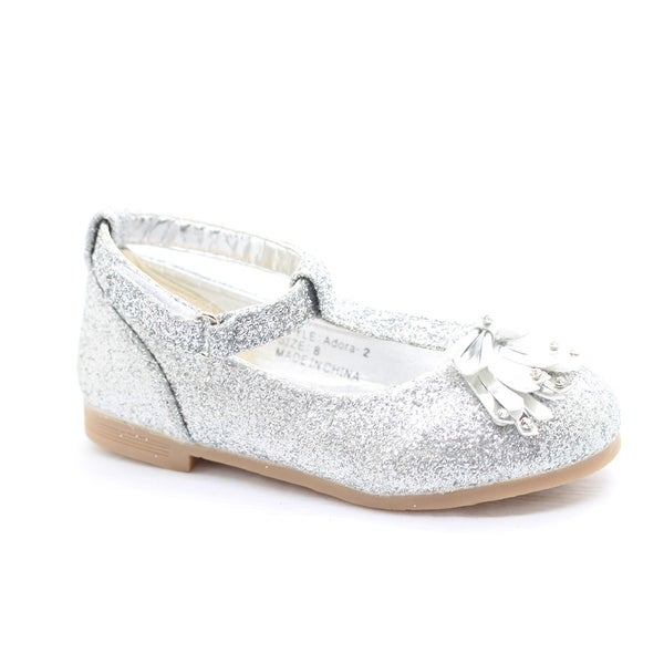 d0c0646b494d Shop Little Girls Silver Glitter Bow Adorned T-Strap Dress Shoes - Free  Shipping On Orders Over  45 - Overstock - 23079554