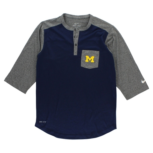 64d1fa9af5a Shop Nike Mens University of Michigan 3 4 Sleeve Baseball Shirt Navy -  navy heather grey yellow - S - Free Shipping On Orders Over  45 - Overstock  - ...