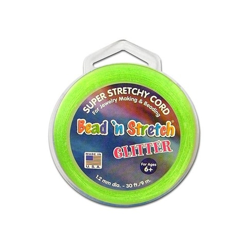 Toner Bead N Stretch Cord 1.2mm Glitter Lime 30ft