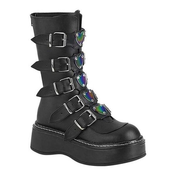 Demonia Women's Emily 330 Platform Mid Calf Boot Black Vegan Leather