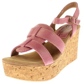 Sbicca Womens Seacliff Wedge Sandals Leather Strappy - 10 medium (b,m)