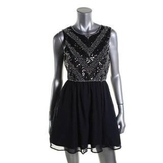 As U Wish Womens Juniors Beaded Prom Party Dress