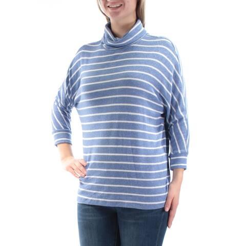 MAISON JULES Womens Blue Striped 3/4 Sleeve Sweater Size M