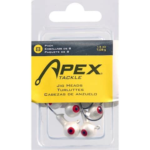 Apex ap14-8-5 jig heads 1/4 oz 8pk white