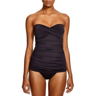 Tommy Bahama Womens Strapless Ruched One-Piece Swimsuit