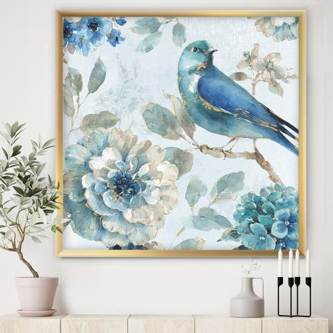 Designart 'Indigold Watercolor Lovely bird II' Farmhouse Framed Art Print