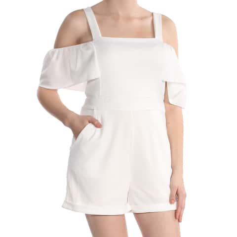 XOXO Womens Ivory Cold Shoulder Square Neck Romper Size: L