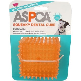 "Orange - ASPCA 2.5"" Squeaky Dental Cube Dog Toy"