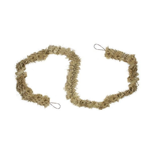 7.75' Decorative Natural Jute Bow Christmas Garland - Unlit - brown