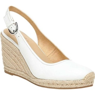 Naturalizer Women's Pearl Slingback Wedge Espadrille White Pebbled Leather