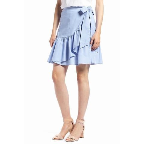 1901 NORDSTROM Womens Blue Size 8P Petite Ruffle Tie Waist A-Line Skirt