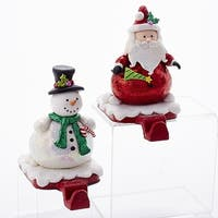 "Pack of 2 Glittering Snowman and Santa Claus Christmas Stocking Hangers 6"" - WHITE"
