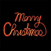 31 Inch Red LED Rope Light Merry Christmas Motif