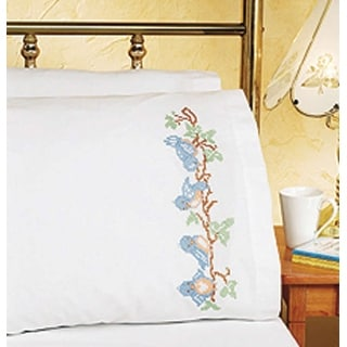 """Stamped Cross Stitch Pillowcase Pair 20""""X30""""-Birds On A Branch"""