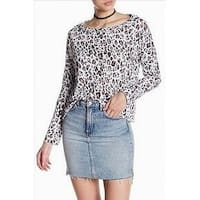 Stateside Brown Women's Animal-Print Knit Top