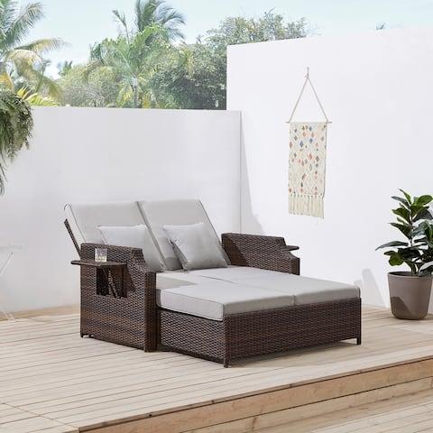 OVE Decors Sunnybrook I Daybed Dark Brown Wicker with Beige Olefin Cushions