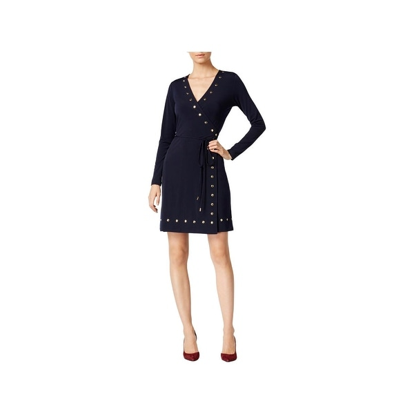 c4fd872a9955 Shop MICHAEL Michael Kors Womens Wrap Dress Studded Long Sleeves - xs - Free  Shipping Today - Overstock - 22581482