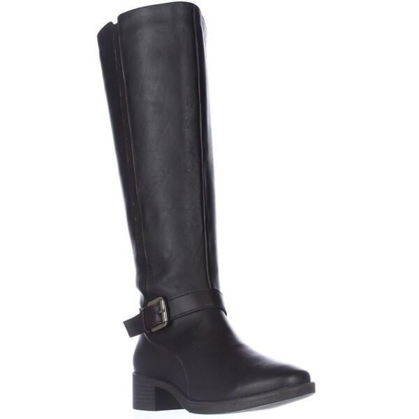 Easy Spirit Nadette Flat Riding Boots, Dark Brown