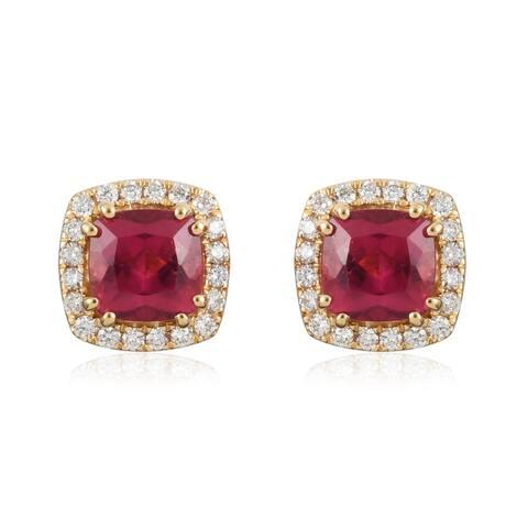 Yellow Gold AAA Rubellite Diamond Stud Earrings Ct 2.4 SI Clarity
