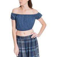 Max Studio London Womens Crop Top Off The Shoulder Striped