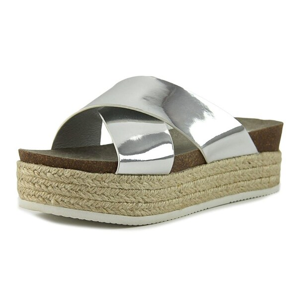 Steve Madden Hassie Women Open Toe Synthetic Silver Platform Sandal