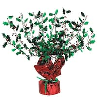Club Pack of 12 Red and Green Metallic Gleam 'N Burst Holly Centerpiece Christmas Decorations 15""