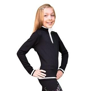 ChloeNoel Girls Womens White Mock Collar Long Sleeve Skating Top 6-L