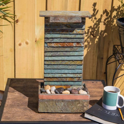 """Ridge 19"""" Indoor and Outdoor Table Fountain - Slate and Copper - 6"""" x 19"""""""