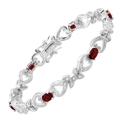 """Glass Heart Station Tennis Bracelet with Cubic Zirconia in Rhodium-Plated Bronze, 7.25"""" - Red"""