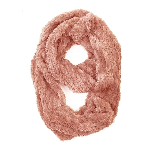 "Super Soft Faux Synthetic Fur Warm Infinity Loop Circle Scarf - Pink - one size: 6"" wide, 62"" around"