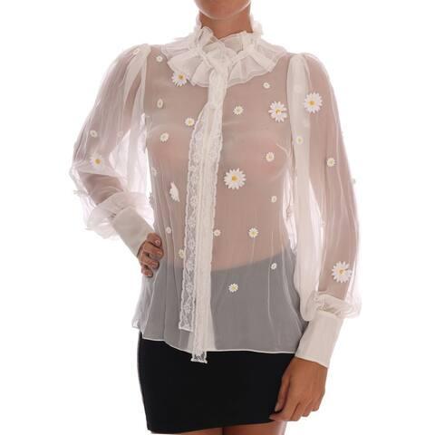 White Daisy Applique Silk Men's Shirt