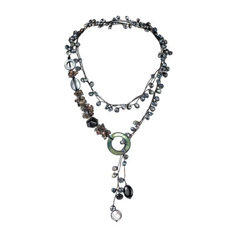 Handmade Pretty Black Pearl Onyx Long Wrap Around Necklace (Thailand)
