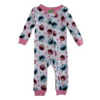 Sesame Street Baby Girls White Elmo Cookie Monster Long Sleeve Sleeper