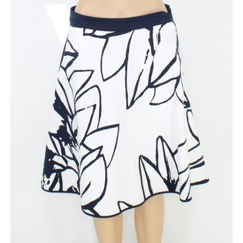 Ming Wang Women's White Size Small PS Petite Printed A-Line Skirt