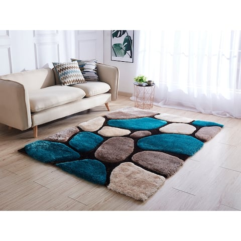 Mateos Shag Collection Stone Area Rug